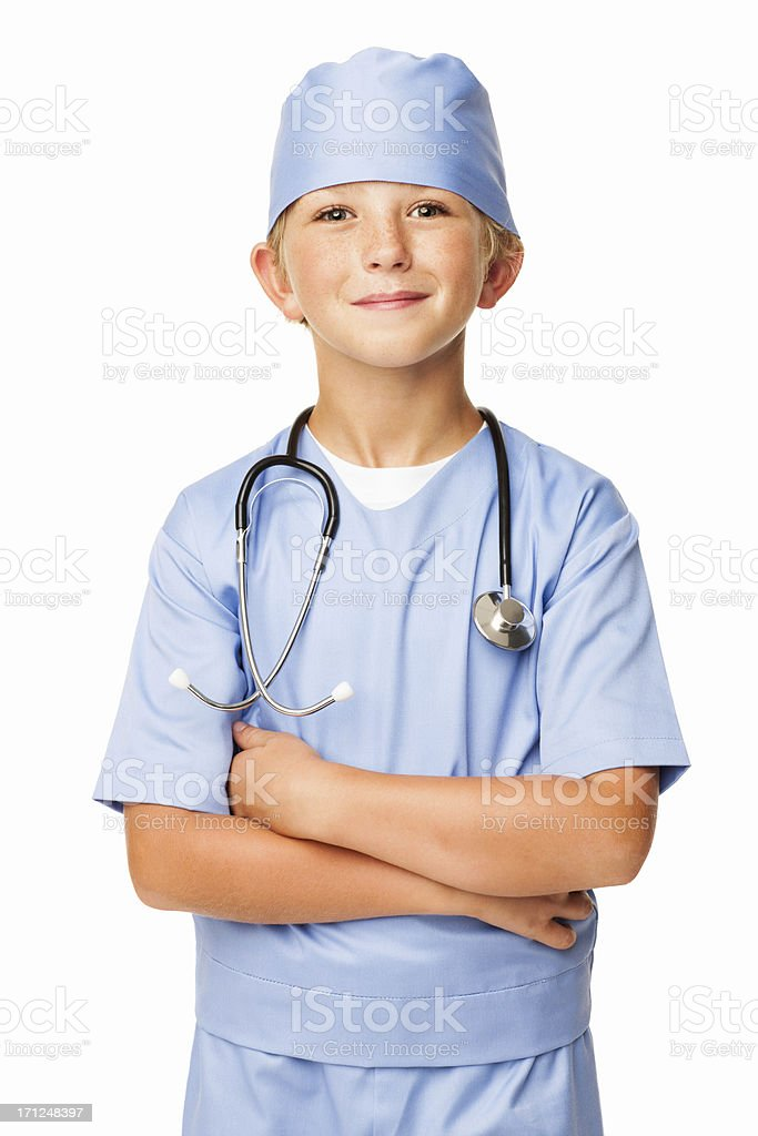 Young Confident Boy In Scrubs - Isolated royalty-free stock photo