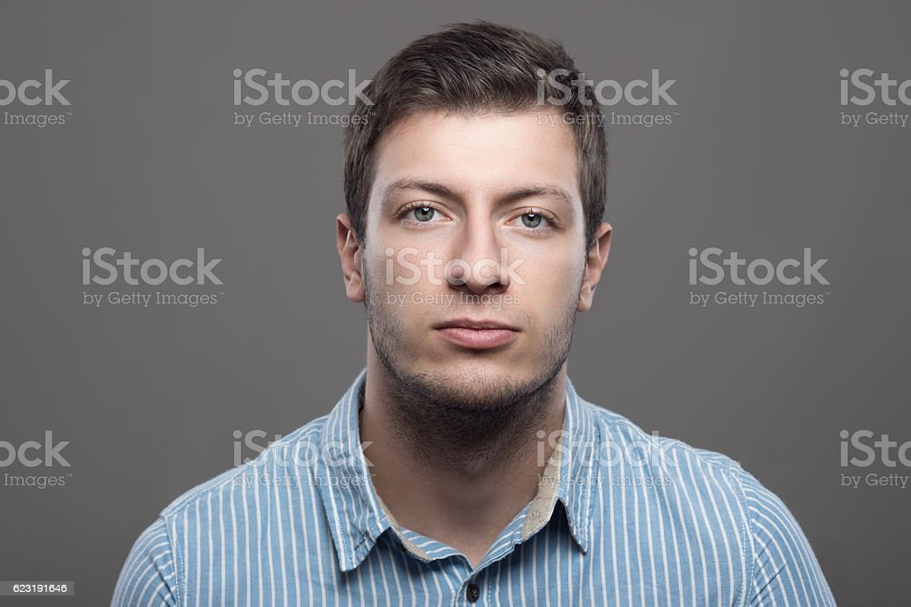 Young confident successful male ceo looking at camera stock photo