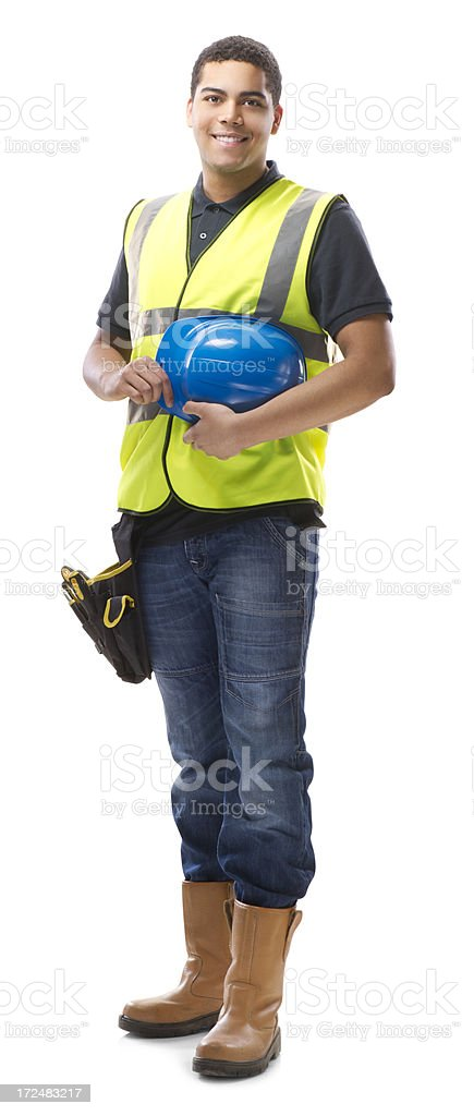 young construction worker isolated stock photo