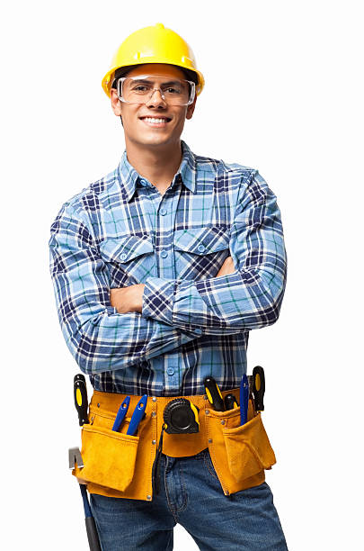 young construction worker - isolated - tool belt stock photos and pictures
