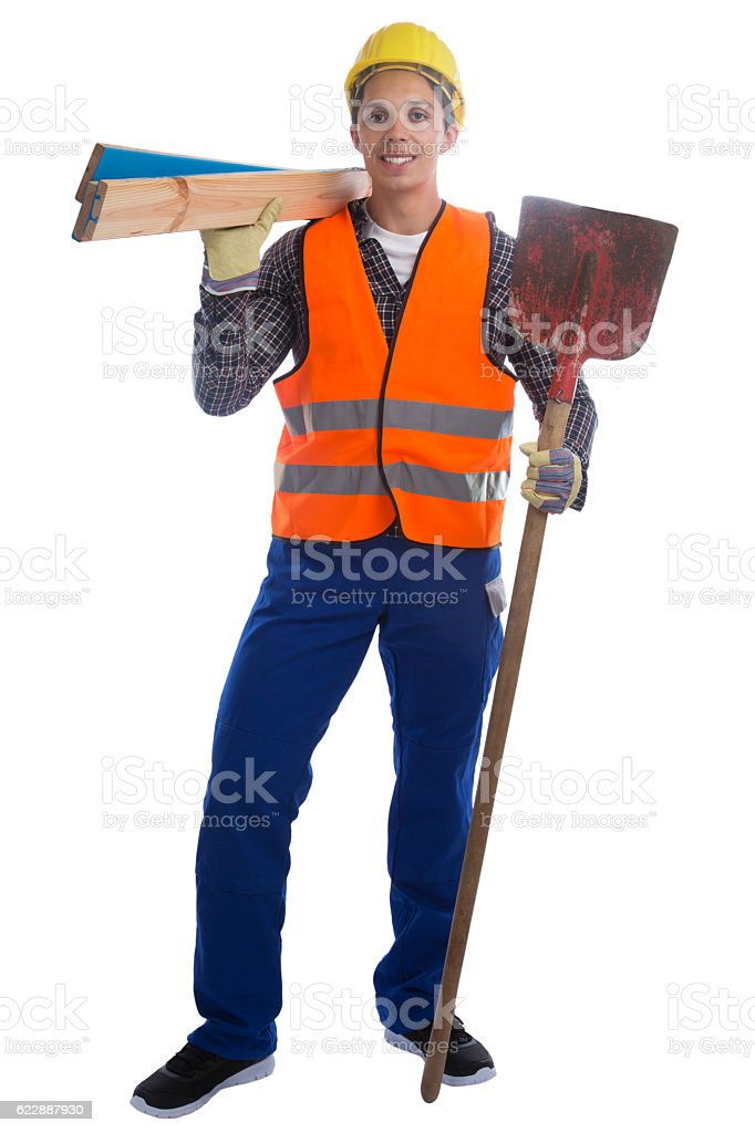 Young construction worker job full body portrait isolated stock photo