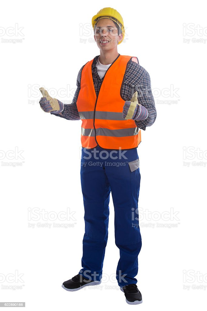 Young construction worker job thumbs up full body portrait isolated stock photo