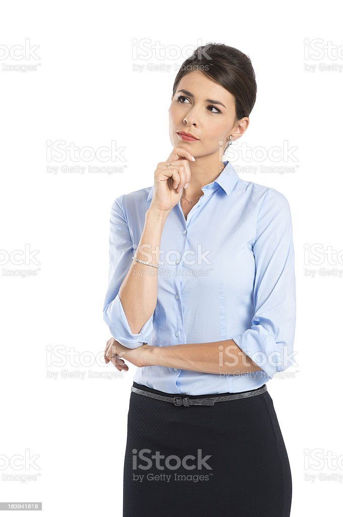 Young Contemplated Businesswoman stock photo
