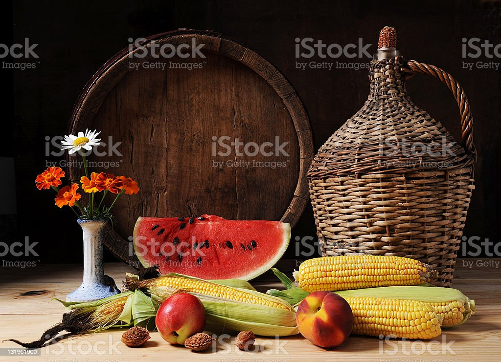 Young corn and watermelon royalty-free stock photo