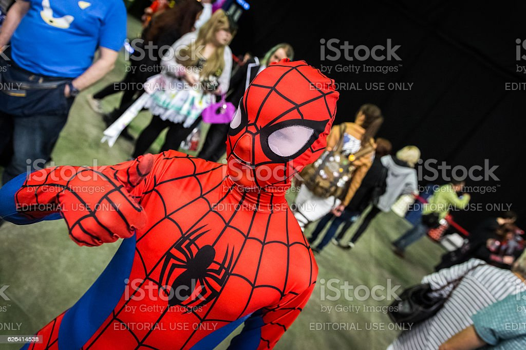 Young cosplayer dressed as 'Spiderman' stock photo