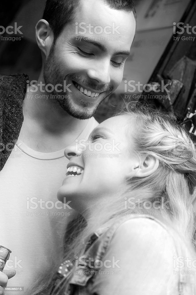 Young Couple Affectionate Happy Moment royalty-free stock photo