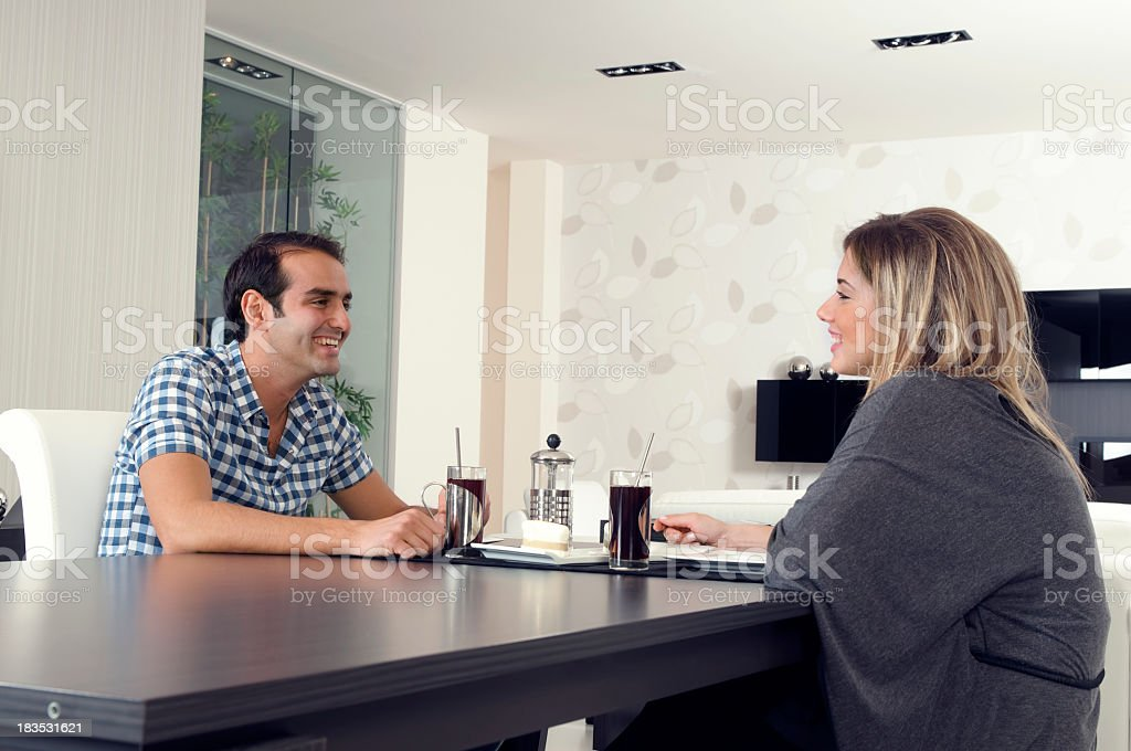 Young couple are talking eachother royalty-free stock photo