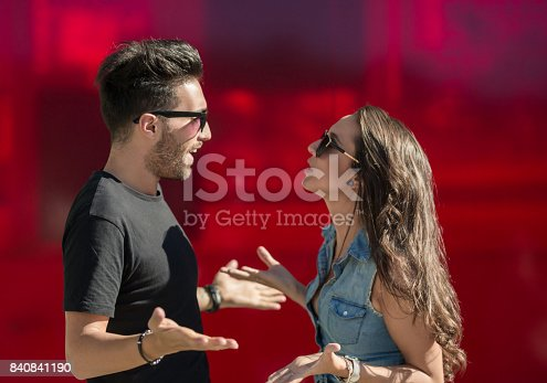 istock Young couple arguing and gesticulating 840841190