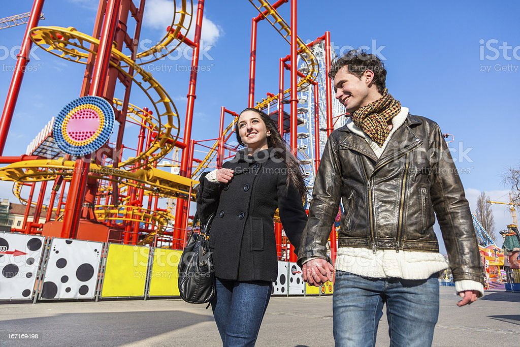 Young Couple at Amusement Park royalty-free stock photo