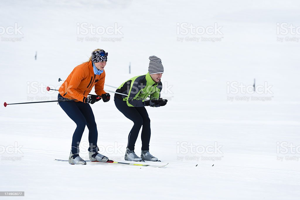 Young couple at cross country skiing royalty-free stock photo