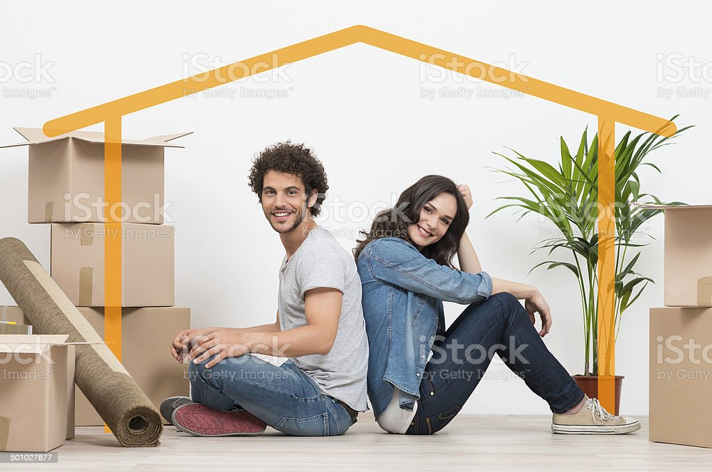 Young Couple At New Home stock photo