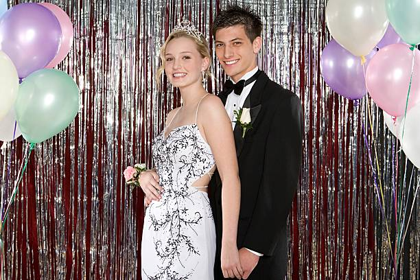 young couple at prom - prom stock photos and pictures