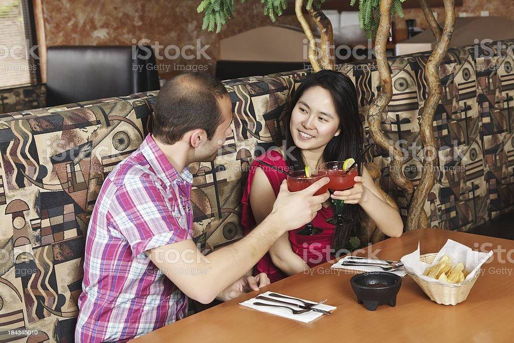 Young Couple at Restaurant royalty-free stock photo