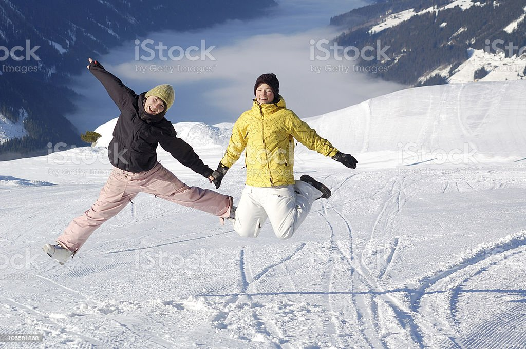 young couple at ski resort royalty-free stock photo
