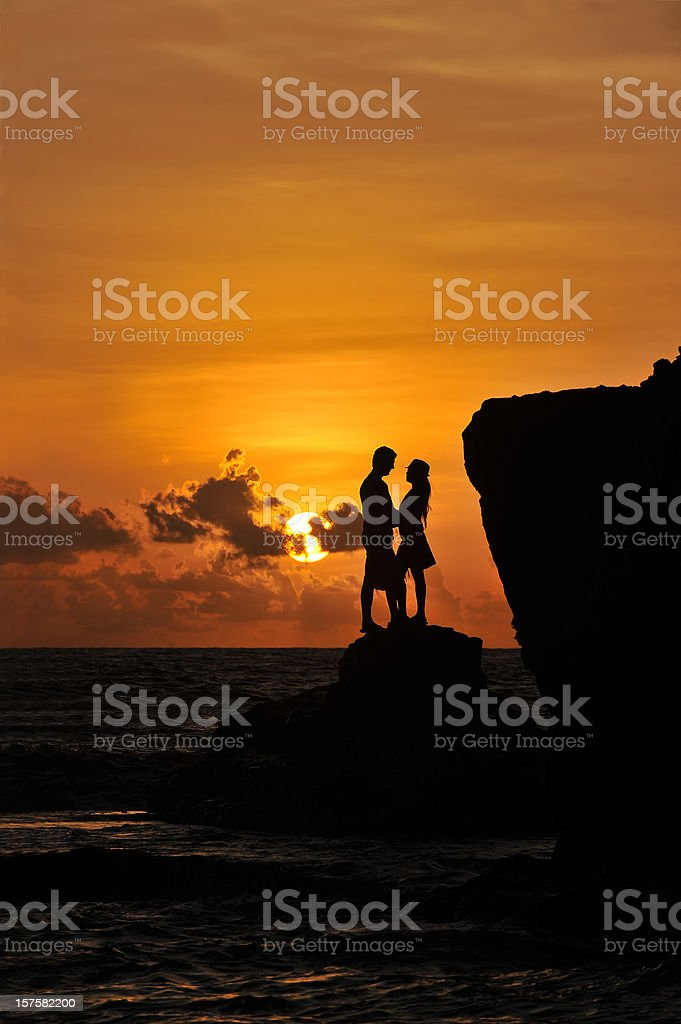 Young Couple at Sunset stock photo