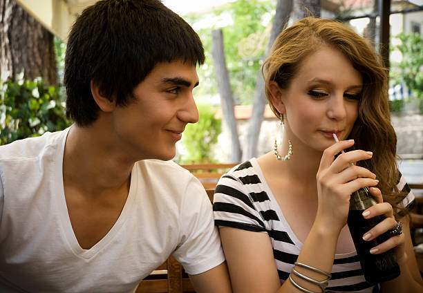 Young couple at the cafe stock photo