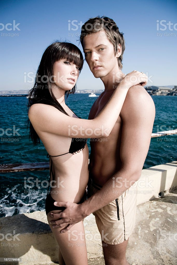 Young couple at the French Riviera royalty-free stock photo