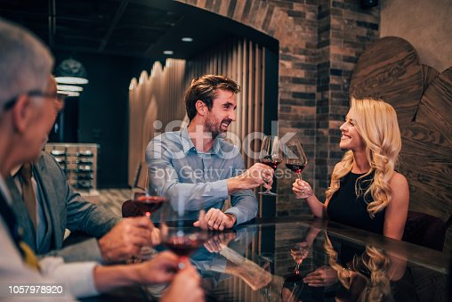 istock Young couple at wine tasting 1057978920