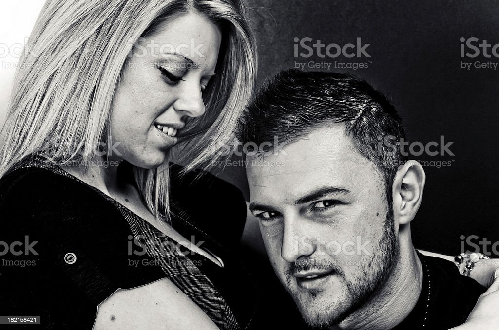 Young Couple B&W Portrait royalty-free stock photo