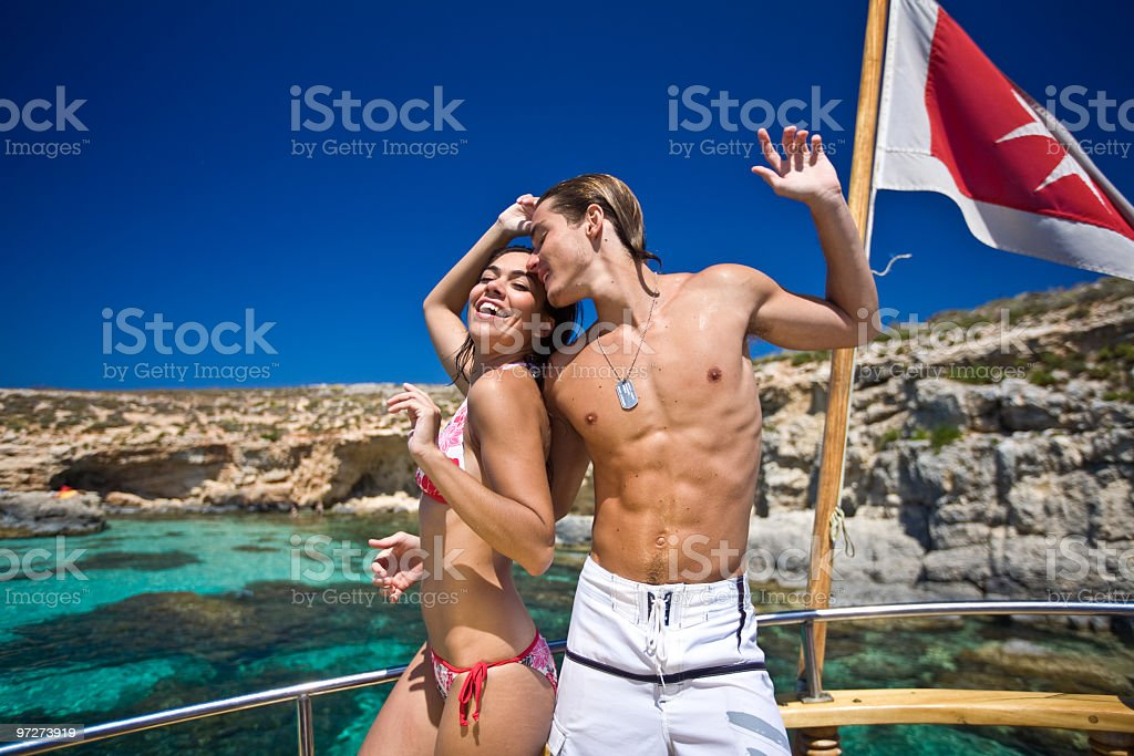 Young couple by the sea royalty-free stock photo