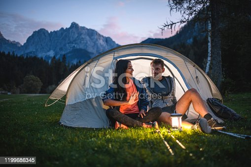 istock Young Couple Camping in Northwestern Slovenia 1199686345