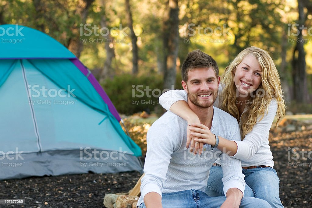 Young Couple Camping royalty-free stock photo