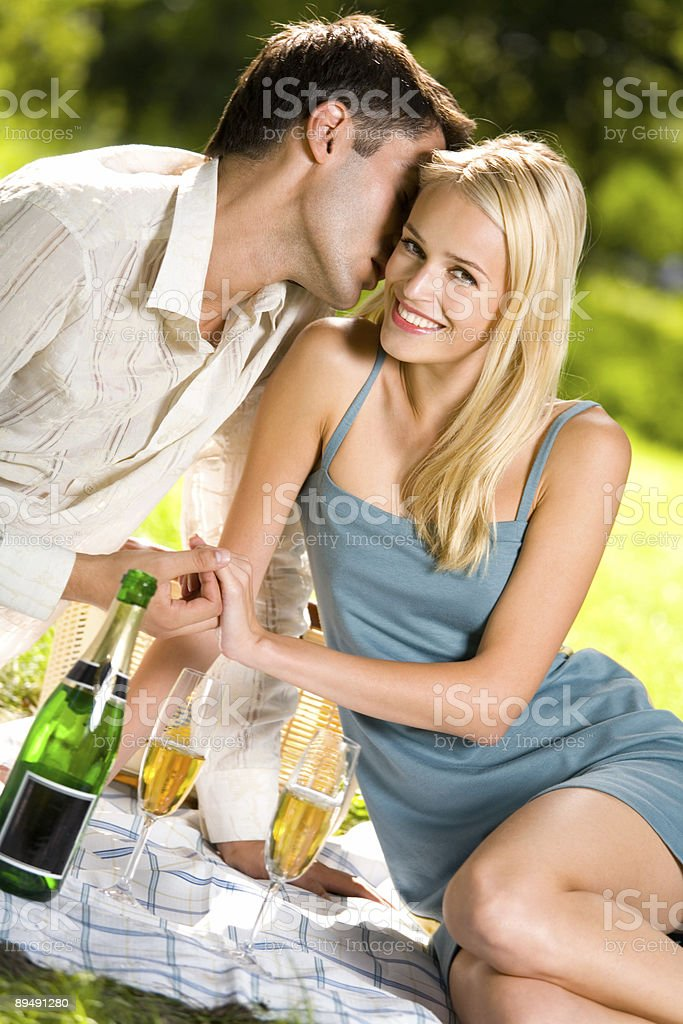 Young couple celebrating with champagne together, at picnic royalty-free stock photo