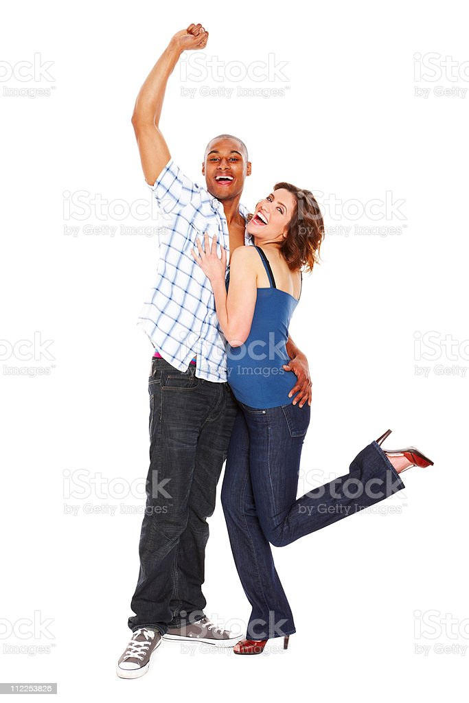 Young Couple Cheering - Isolated royalty-free stock photo