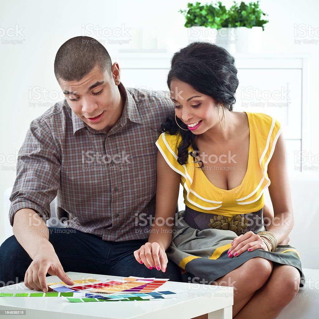 Young couple choosing colors royalty-free stock photo