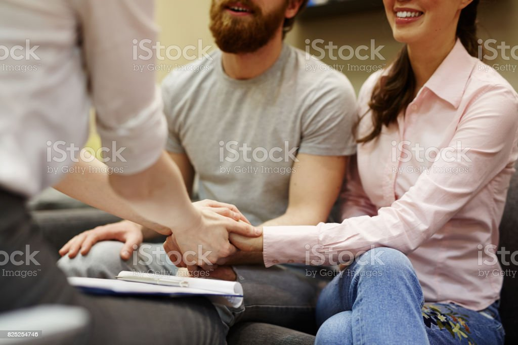 Young Couple Coming for Help stock photo