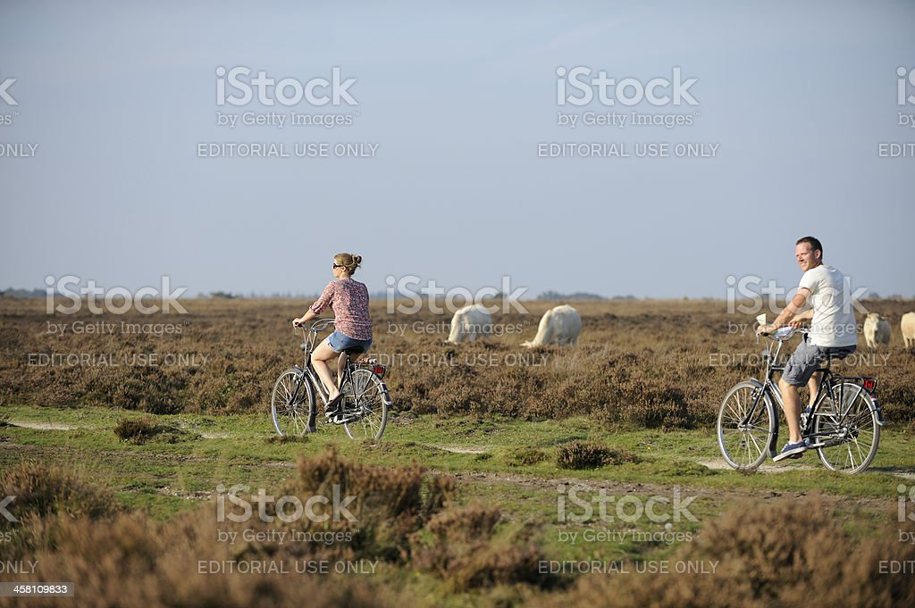 Young couple cycling in nature stock photo
