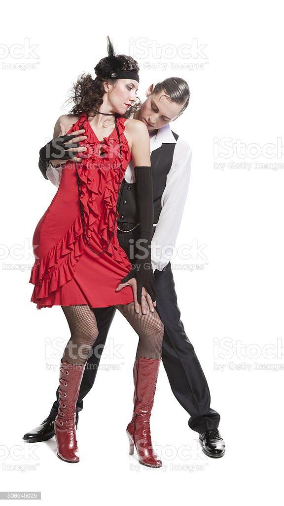 Young couple dancing tango stock photo