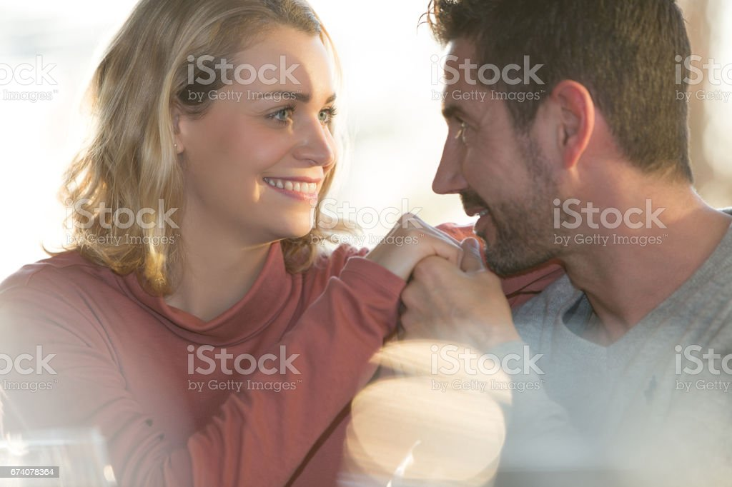 Young couple dating in restaurant royalty-free stock photo