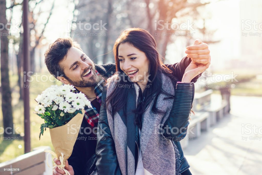 Young couple dating stock photo