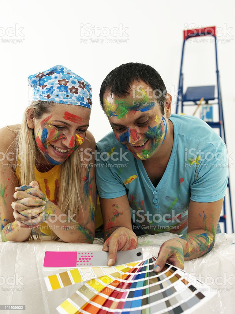 Young Couple Decorating royalty-free stock photo