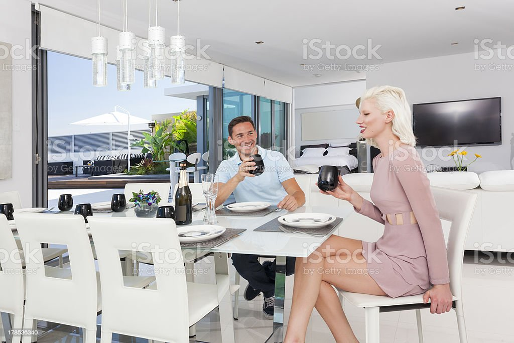 Young couple dining royalty-free stock photo