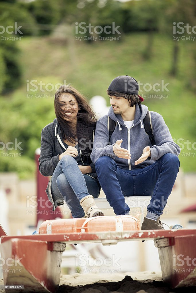 Young couple discussing royalty-free stock photo