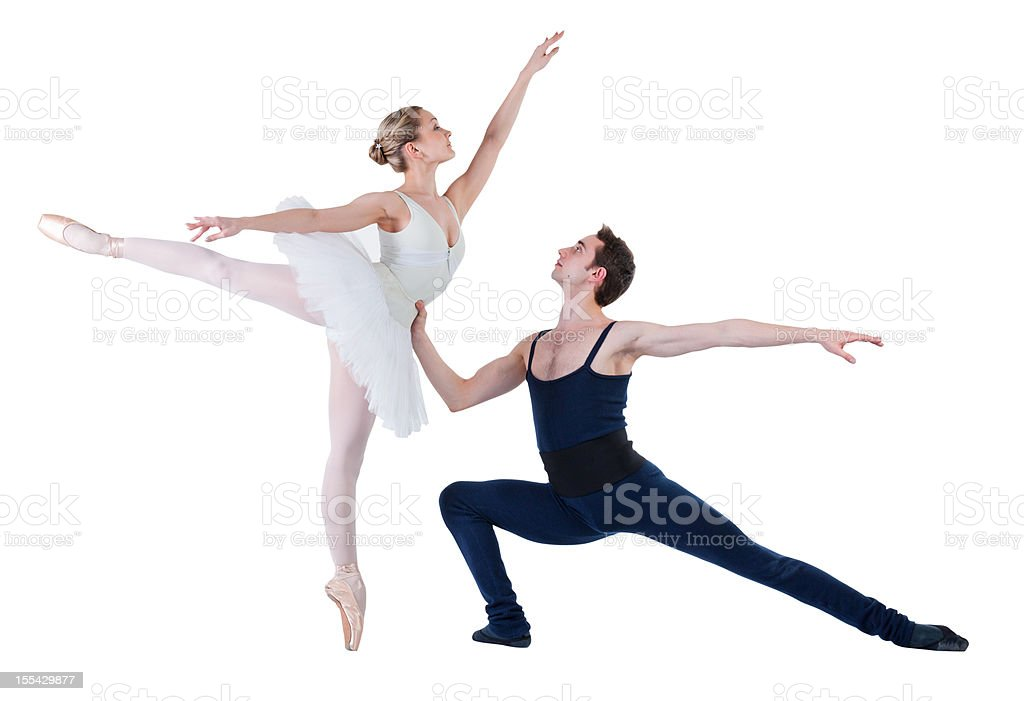 Young couple doing ballet stock photo
