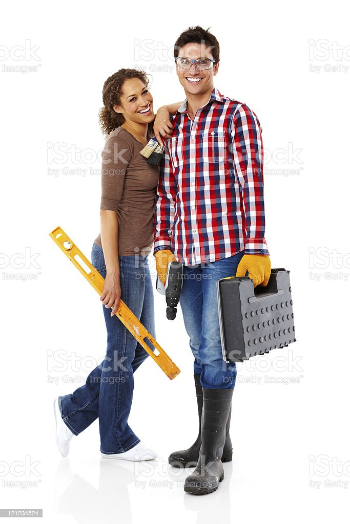 Young Couple Doing Home Repairs - Isolated royalty-free stock photo