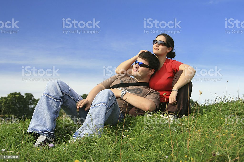 Young couple dreaming about future royalty-free stock photo