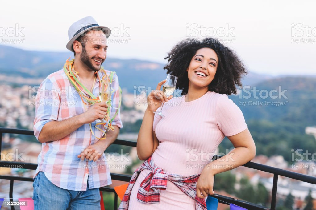 Young couple drinking champagne stock photo