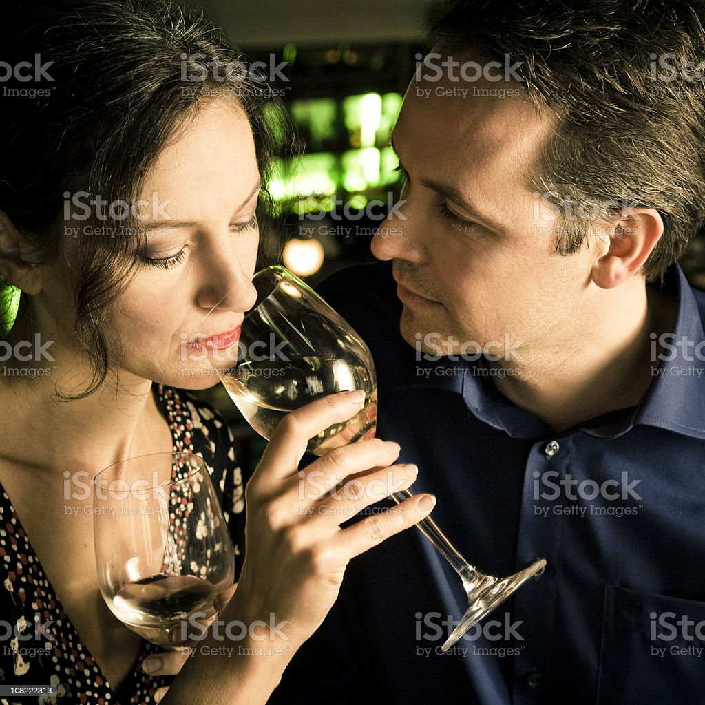 Young Couple Drinking White Wine royalty-free stock photo