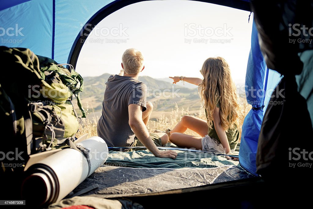 Young couple during camping royalty-free stock photo