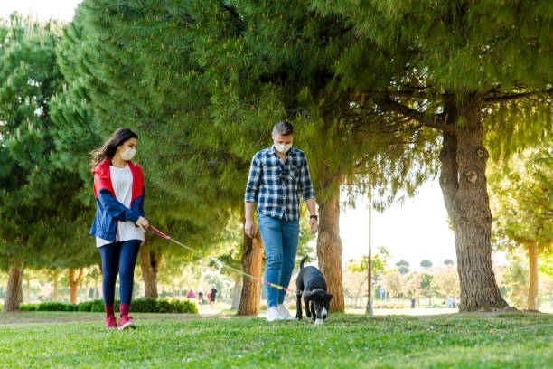 Young couple during pandemic isolation walking with her dog in park stock photo