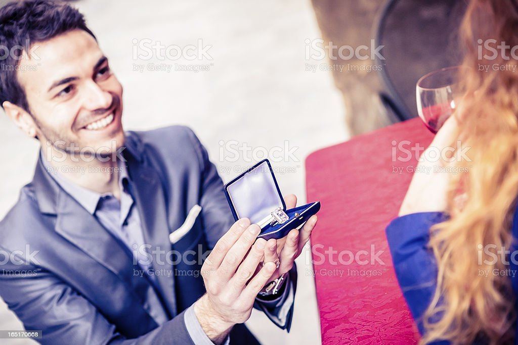 Young Couple Engagement Moment stock photo