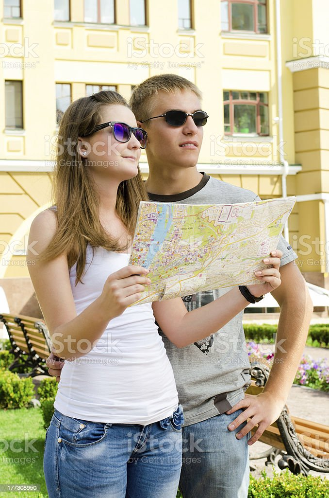 Young couple enjoying a summer vacation royalty-free stock photo