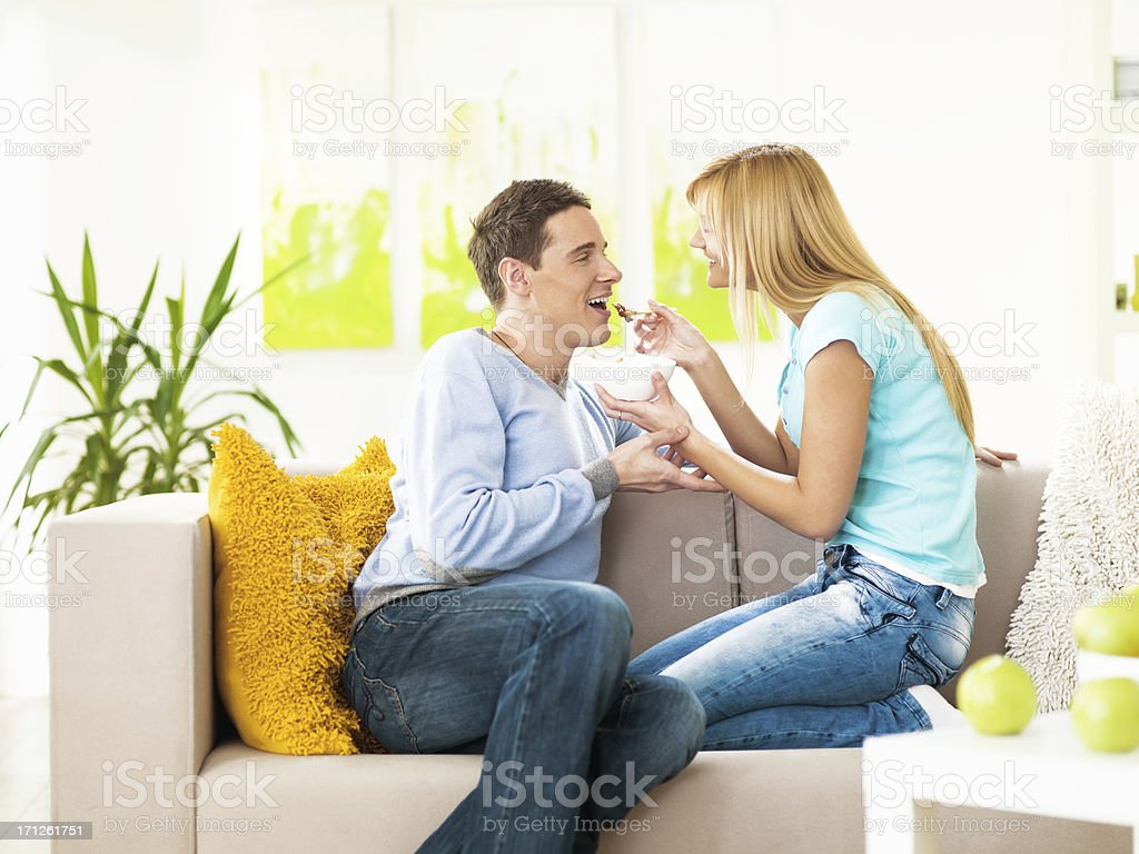 young couple enjoying  chinese food together royalty-free stock photo