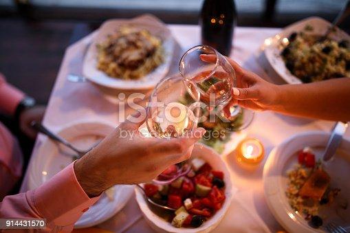 Young couple enjoying romantic dinner