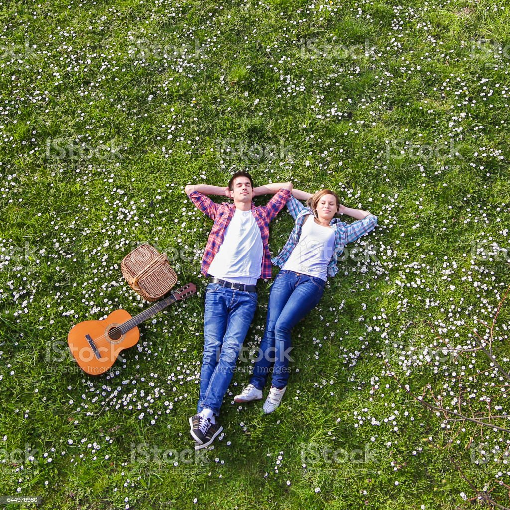 Young couple enjoying springtime stock photo