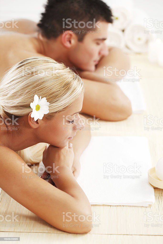 Young couple enjoying themselves at the spa centre. royalty-free stock photo